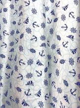 """Nautical Faux Silk Satin 60""""W Fabric - White"""