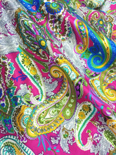 "Paisley Faux Silk Satin 48""W Fabric - Hot Pink"