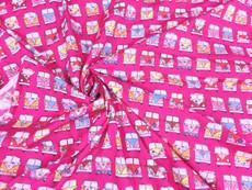 Retro Peace & Love Camper Van Fabric 100% Cotton - Pink