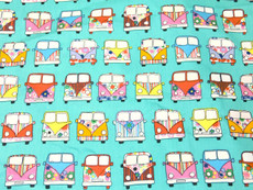 Retro Peace & Love Camper Van Fabric 100% Cotton - Green Turquoise