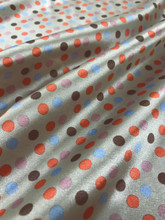 "Multi Color Polka Dot Faux Silk Satin 48""W Fabric - Taupe Blue Orange"