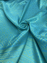 "Thai Silk Damask 40""x72"" Fabric  - Turquoise Blue & Gold"
