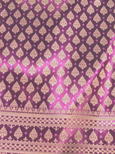 "Thai Silk Damask 40""x72"" Fabric - Purple & Gold"