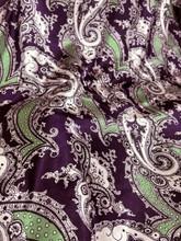 "Paisley Faux Silk Satin 48""W Fabric - Eggplant"