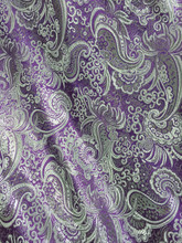 Paisley Metallic Brocade Fabric - Purple & Silver