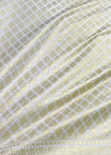 Traditional Thai Silk Dress Fabric Metallic Print White & Gold