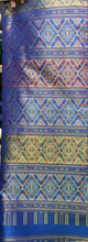 "Traditional Thai Silk  Fabric 40""x80"" Thai-Laos Skirt (Praewa) - Blue"