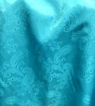 "Paisley Jacquard Viscose Fabric 60""W - Turquoise Blue"