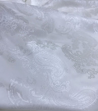 "Paisley Jacquard Viscose Fabric 60""W - White Ivory"