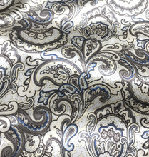 "Paisley Print Viscose Fabric 60""W - Cream Brown Blue"