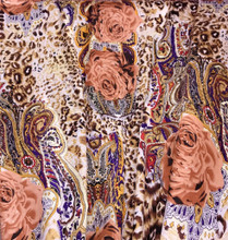 Animal & Roses Print Satin Fabric - Copper Brown