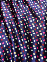"Multi Color Polka Dot Faux Silk Satin 48""W Fabric - Navy Blue & Pinks"