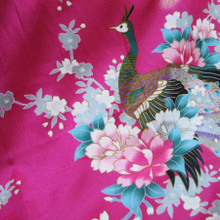 "Peacock Faux Silk Satin Fabric 48""W - Hot Pink"