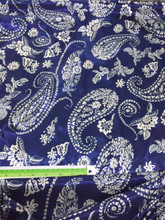 "Paisley Print Blue & White Faux Silk Satin 60""W Fabric"