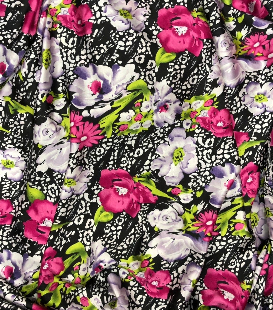Poly Jersey Fabric Navy with Pink and Coral Roses 150cm