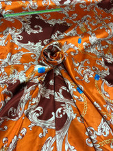 "Floral Print Faux Silk Satin 48""W Fabric - Orange Burgundy"