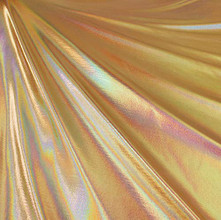 Metallic Foil Lame Spandex Knit Fabric - Gold Iridescent Hologram