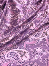 "Paisley Faux Silk Satin 48""W Fabric - Purple Gray"