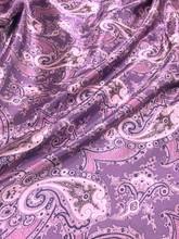 "Paisley Faux Silk Satin 48""W Fabric - Purple Gray"