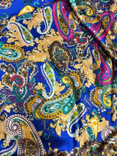 "Paisley Faux Silk Satin 48""W Fabric - Royal Blue, Pink, Gold"