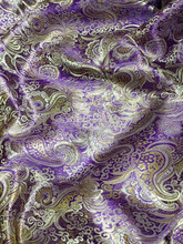 Paisley Metallic Brocade Fabric - Purple & Gold