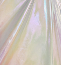 Metallic Foil Lame Spandex Knit Fabric - White Hologram
