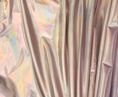 Metallic Foil Lame Spandex Knit Fabric - Rose Gold Hologram