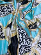 Leopard Animal Print & Chains Satin Fabric - Mint Gold Ivory