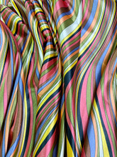 Multi Color Curvy Stripes Faux Silk Satin Fabric - Brown Dusty Pink
