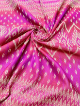 "Traditional Thai Silk Damask 40""X80"" Fabric  - Hot Pink/Red/Gold"
