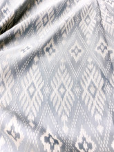 "Traditional Thai Silk Damask 40""X80"" Fabric  - Gray/Silver"