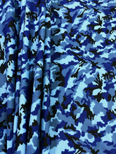 Army Camouflage Prints Cotton Fabric - Blue Gray