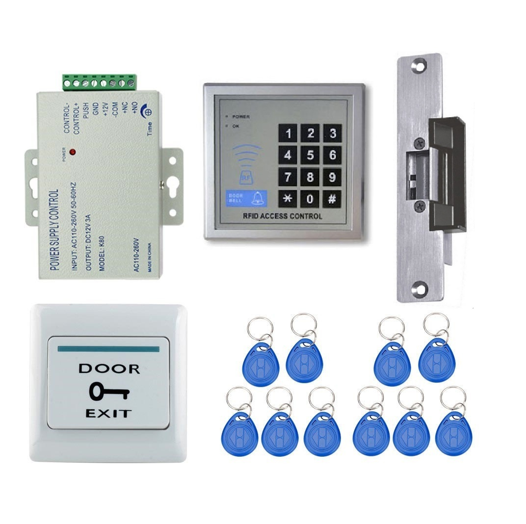 125khz Rfid Door Access Control System Strike Lock Full Kit
