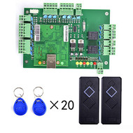 2 Pieces Card Reader+20pcs RFID Card+Free English Software+TCPIP Two Door Access Control System