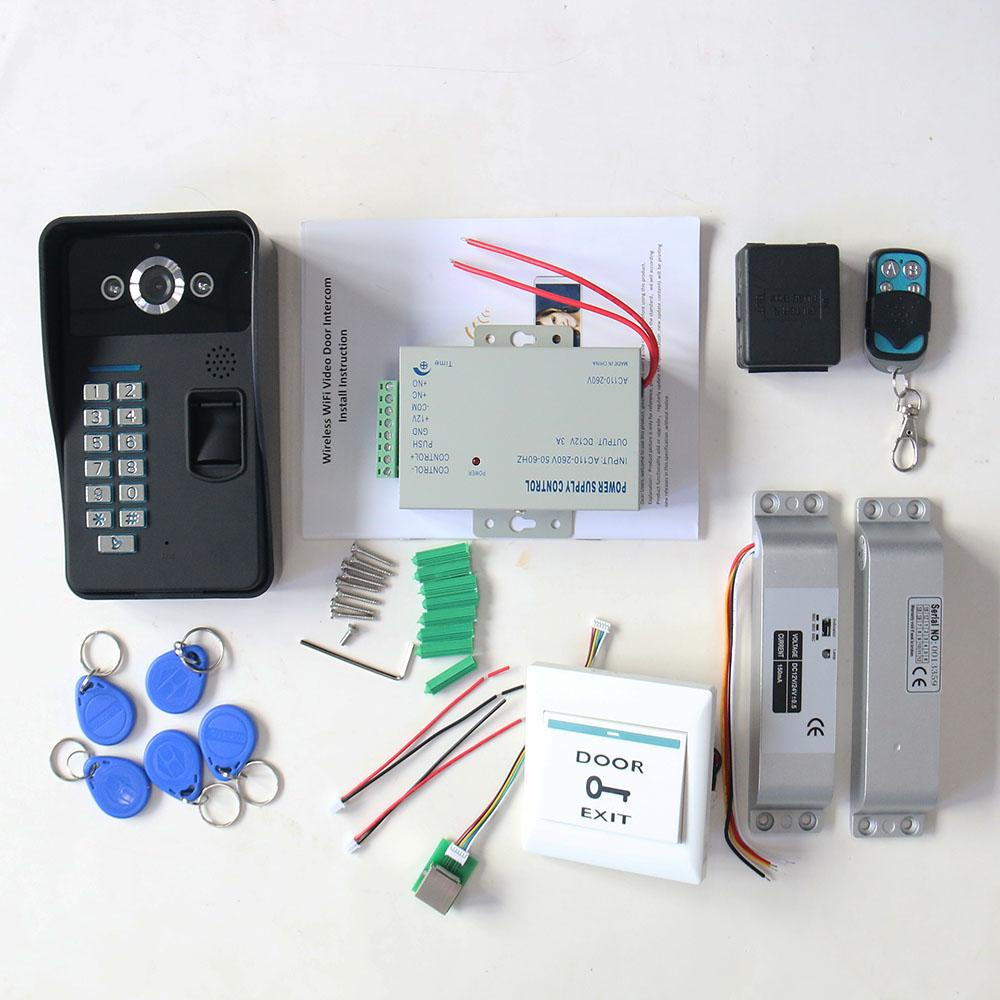 A Complete set of RFID Door Access Control System Kit Set + Electric Drop  Bolt Lock Waterproof Video Doorphone intercom