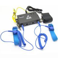 2 Channel Auto-alarm Anti static ESD Wrist Strap Tester Antistatic Wrist Band Online Monitors for 2pc Strap