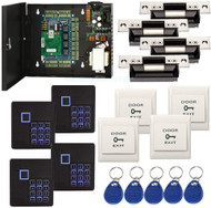 4 Doors Complete TCP/IP RFID Access Control Systems with North American Standard Electric Strike for Latch Doors Keypad Reader  Power Supply Box Phone APP Remote Open Door