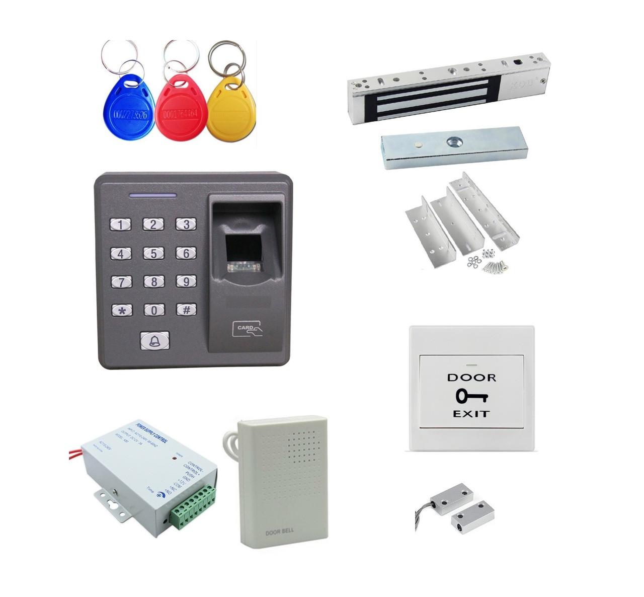 Fingerprint + Password + Id Card Biometric Access Control & Biometric Door  Lock Entry Kit (Magnetic Lock+ ZL Bracket)