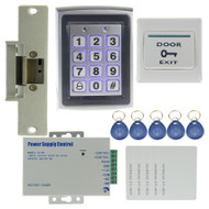 Door Access Control System Kit Set Metal RFID Keypad +Strike Door Lock +Power +Exit Button