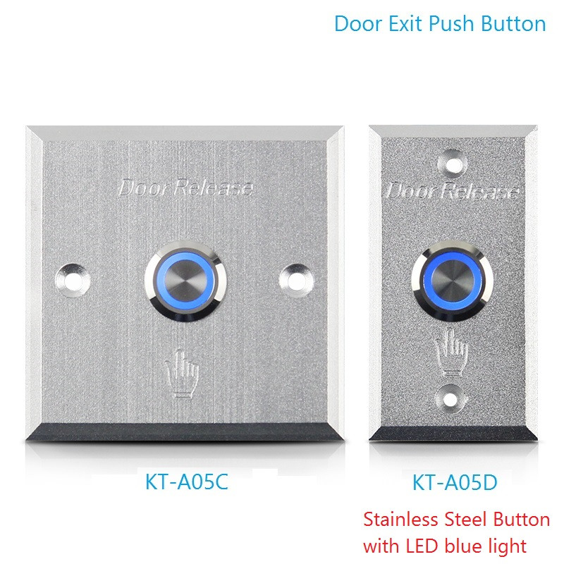 Door Exit Push Button With Led Light Stainless Steel Sealed Contact Button Aluminum Alloy Panel Access Control Release Switch