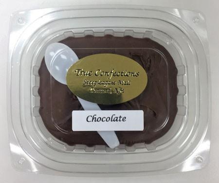 1/4 lb. chocolate fudge with spoon