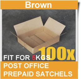55e63cc2492 100 Pcs Mailing Box 365x280x95mm Carton Fit Australia POST 5KG Satchel Bag-BROWN.  Loading zoom