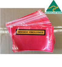 RED Clear Invoice Enclosed Document Envelope Sticker 1000 pcs