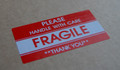 2500 Pcs FRAGILE HANDLE WITH CARE Red Warning Sticker- 105x57mm SELF ADHESIVE LABEL