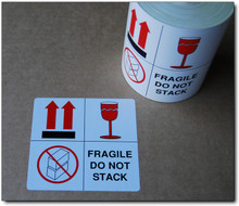 FRAGILE DO NOT STACK - Glossy Warning Sticker 96x93mm SELF ADHESIVE LABEL