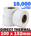 10000 Industrial Direct Thermal Shipping Label 100X150mm 76mm Core Zebra Printer