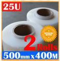 2 Rolls 500mm x 400m Meter - 25U CLEAR - Hand Stretch Film Pallet Shrink Wrap