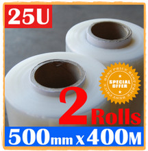 2 Rolls 500mm x 400m Meter - 25U CLEAR - Hand Stretch Film Pallet Shrink Wrap