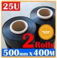 2 Rolls 500mm x 400m Meter - 25U BLACK -  Quality Stretch Film Pallet Shrink Wrap