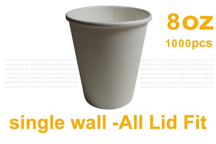8oz Single Wall Paper Cups Plain White Lid fits-1000pcs/carton